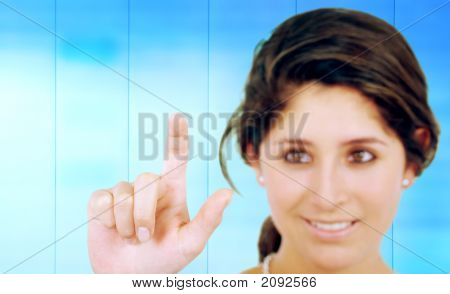 Business Woman Touching The Screen