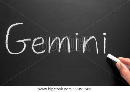The Star Sign Gemini Written On A Blackboard.