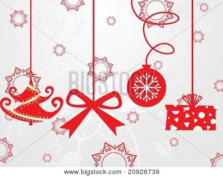 hanging christmas icons background with grey seamless pattern