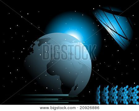 abstract black background with blue shiny globe