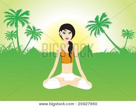 female doing yoga under open sky, wallpaper
