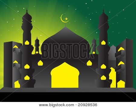 silhouette of mosques in the moon night, illustration