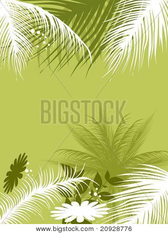 abstract green background with tree and flower