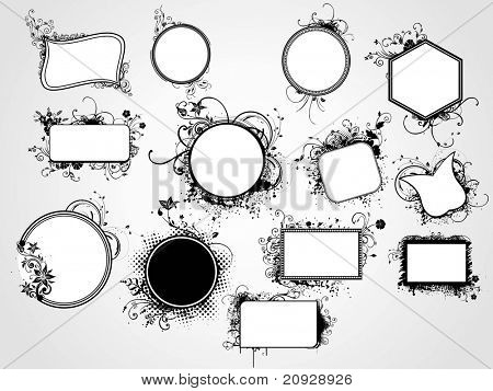 set of distinct shape artistic floral frame, vector illustration
