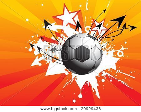 abstract rays background with grungy soccer, curve arrowhead illustration