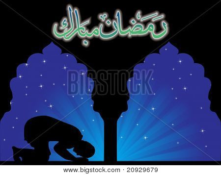 blue raya background with man praying in mosque