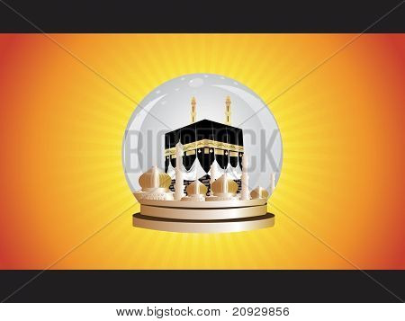 yellow rays background with Illustration of Kaaba in Mecca