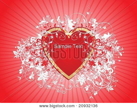 abstract swirl pattern corazones with red rays