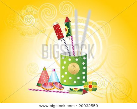 yellow spiral background with colorful cracker in box
