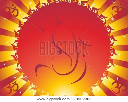 abstract rays, swastika background with ganpati