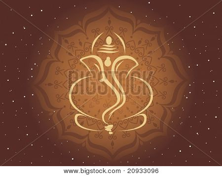 abstract star background with ganpati on artwork