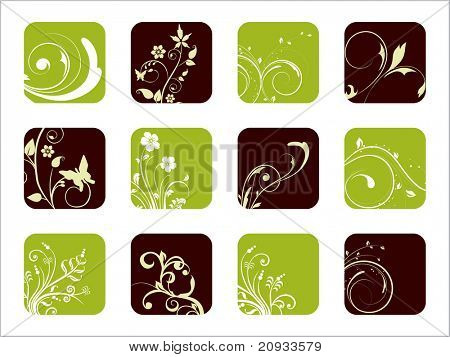 creative floral design icons, vector illustration