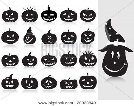 abstract background with set of halloween pumpkins