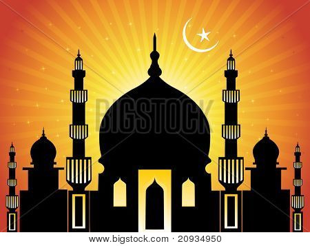 abstract mustard rays background with moon, mosque