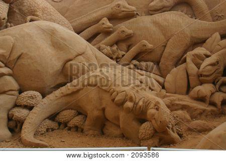 Sand Sculpture Dinosaurs