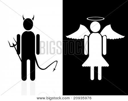 vector illustration of angel and devil.