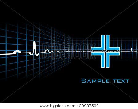 abstract heartbeat symbol background with sample text