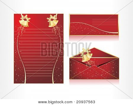 xmas envelope and letter head in red with santa bell