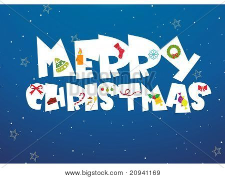 abstract blue background with merry xmas alphabet with xmas icons