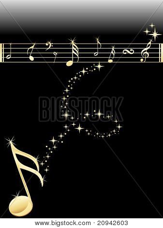 shiny golden music notes background