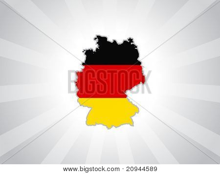grey rays background with isolated german map