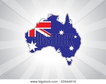 grey rays background with australia map