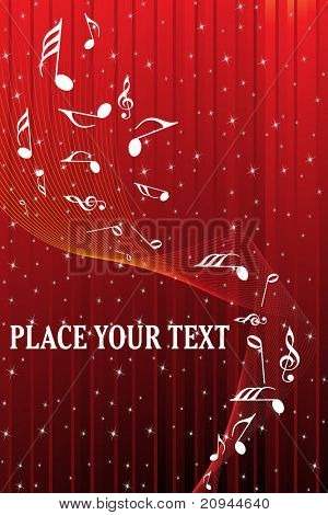 abstract red twinkle star background with wave, musical notes