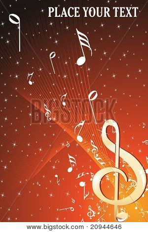 twinkle star background with musical notes wave, illustration