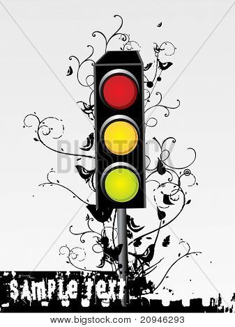 decorated swirl design traffic light with place for text