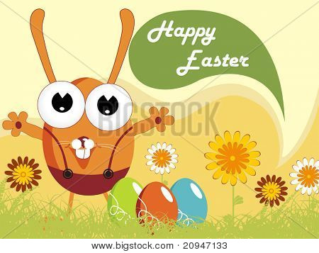 abstract nature pattern background with cartoon easter egg