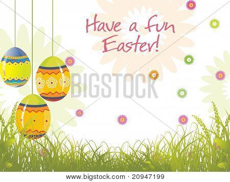 garden background with hanging egg illustration