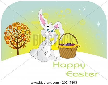 vector wallpaper for easter day with bunny and basket