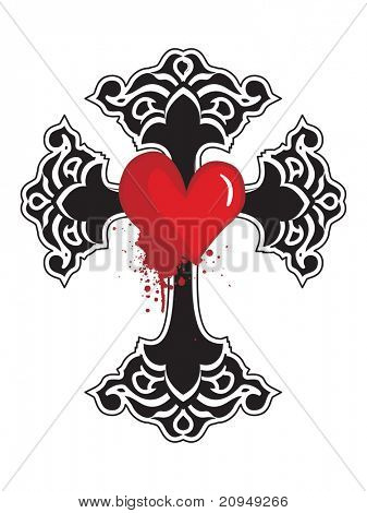 isolated black cross with grungy red heart on white background