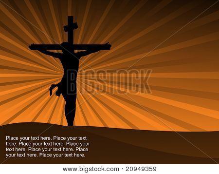 mostaza rayos fondo con silueta de Jesús en Cruz