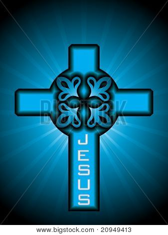 vector illustration of celtic cross with blue rays background