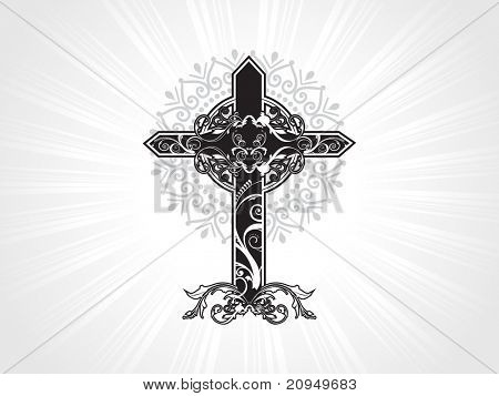 vector decorated christian cross with background