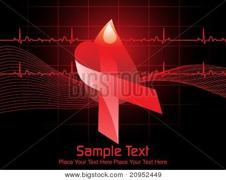 black wavy, heart beat background with hiv ribbon and blood drop