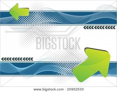 abstract dotted wave background with green arrowhead