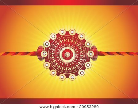 yellow rays background with isolated maroon rakhi