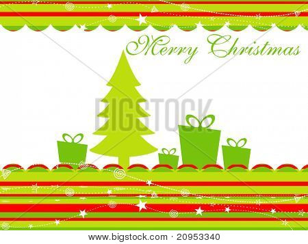abstract colorful lines background with xmas tree, gift box