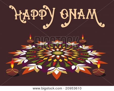 modern artwork background with diya for onam
