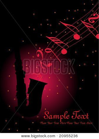 abstract musical notes background with sexophone