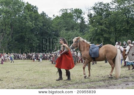 Female Viking With Her Horse