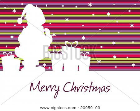 abstract colorful lines background with santa silhouette and gift illustration