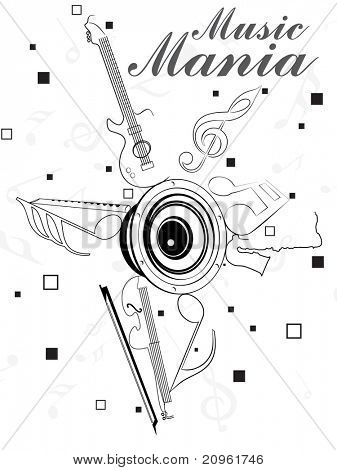 abstract music mania background, illustration