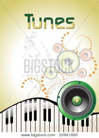 background with musical tunes, vinyl and piano illustration