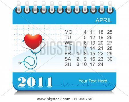 vector medical calender for april 2011