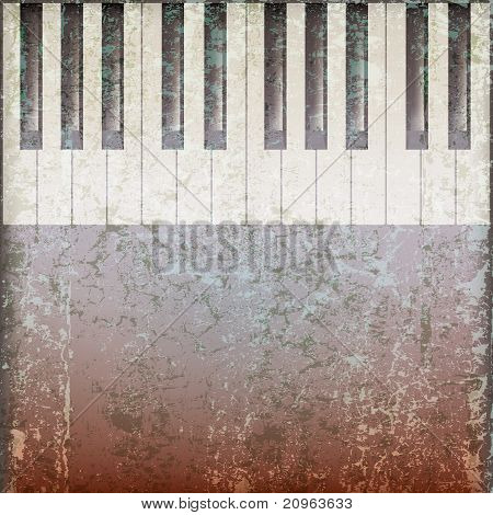 Abstract Grunge Music Background With Piano Keys