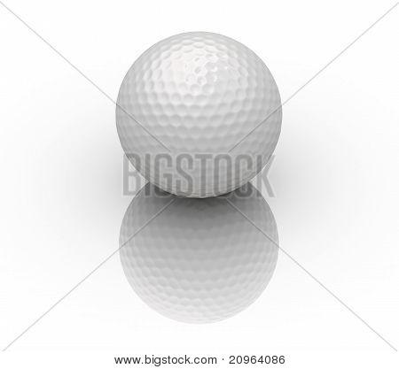 Golf Ball On White Reflection