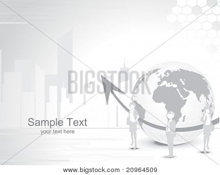 abstract futuristic background with arrowhead and globe